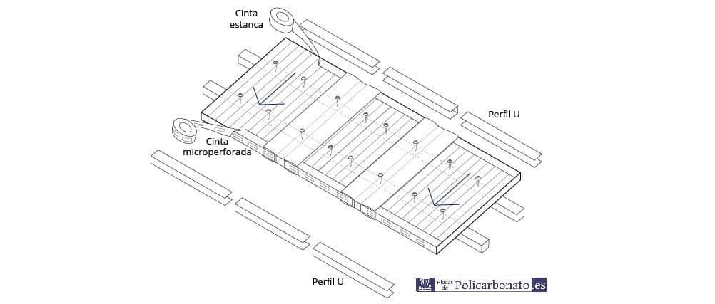 Detalle instalación perfiles policarbonato estructura transversal
